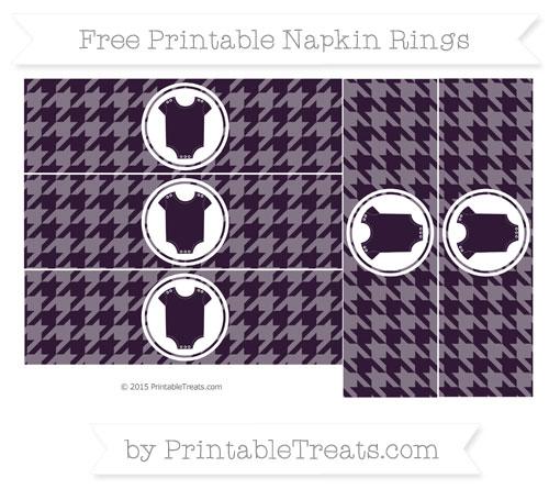 Free Dark Purple Houndstooth Pattern Baby Onesie Napkin Rings
