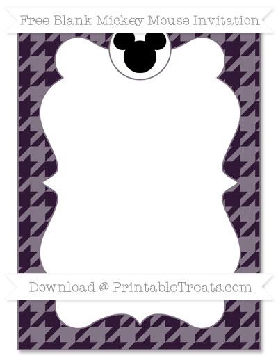 Free Dark Purple Houndstooth Pattern Blank Mickey Mouse Invitation