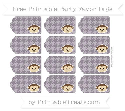 Free Dark Purple Houndstooth Pattern Boy Monkey Party Favor Tags