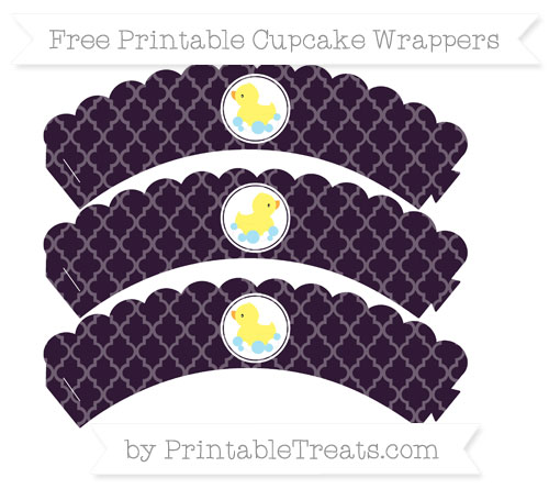 Free Dark Purple Moroccan Tile Baby Duck Scalloped Cupcake Wrappers