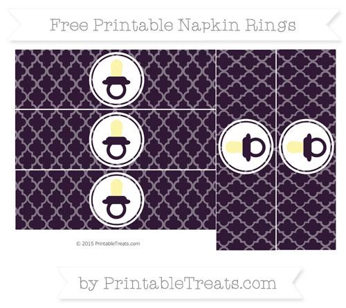 Free Dark Purple Moroccan Tile Baby Pacifier Napkin Rings