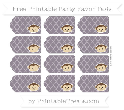 Free Dark Purple Moroccan Tile Boy Monkey Party Favor Tags