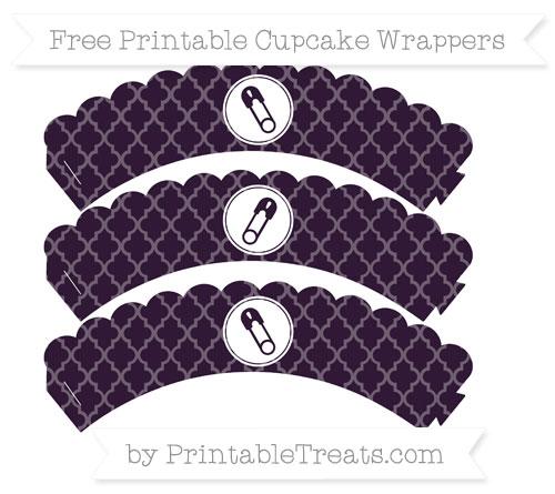 Free Dark Purple Moroccan Tile Diaper Pin Scalloped Cupcake Wrappers