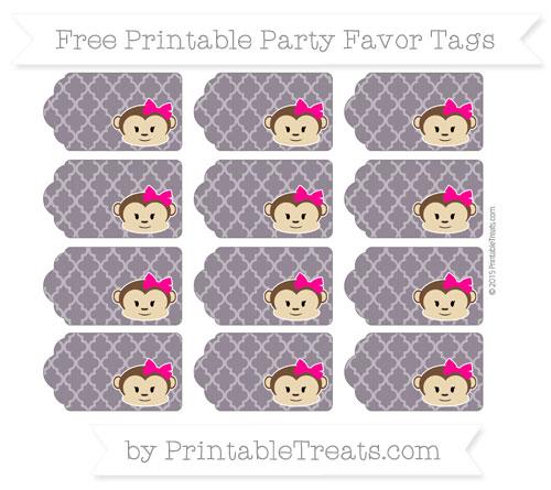 Free Dark Purple Moroccan Tile Girl Monkey Party Favor Tags