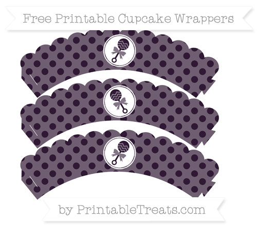 Free Dark Purple Polka Dot Baby Rattle Scalloped Cupcake Wrappers