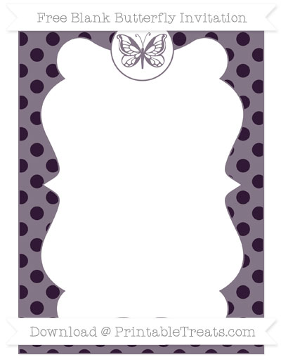 Free Dark Purple Polka Dot Blank Butterfly Invitation