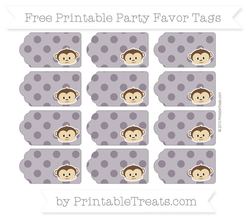 Free Dark Purple Polka Dot Boy Monkey Party Favor Tags