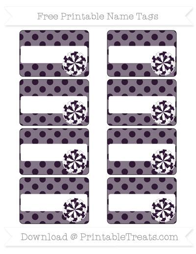 Free Dark Purple Polka Dot Cheer Pom Pom Tags