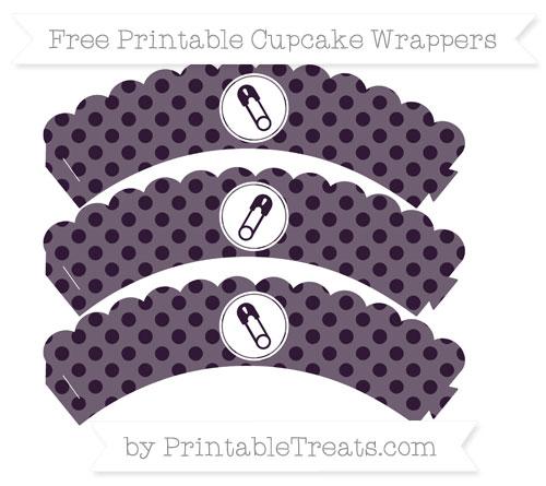 Free Dark Purple Polka Dot Diaper Pin Scalloped Cupcake Wrappers