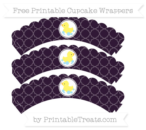 Free Dark Purple Quatrefoil Pattern Baby Duck Scalloped Cupcake Wrappers