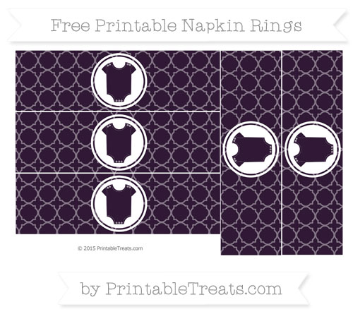 Free Dark Purple Quatrefoil Pattern Baby Onesie Napkin Rings