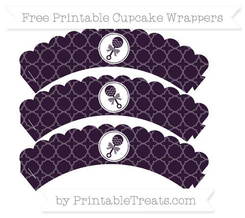 Free Dark Purple Quatrefoil Pattern Baby Rattle Scalloped Cupcake Wrappers