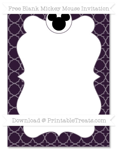 Free Dark Purple Quatrefoil Pattern Blank Mickey Mouse Invitation