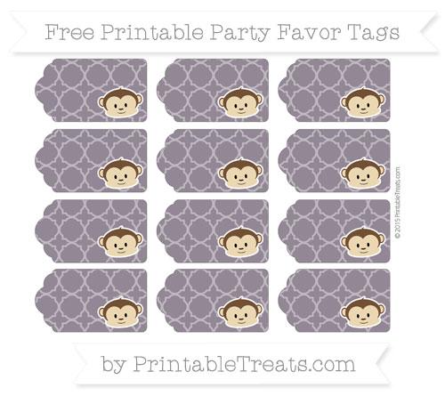 Free Dark Purple Quatrefoil Pattern Boy Monkey Party Favor Tags