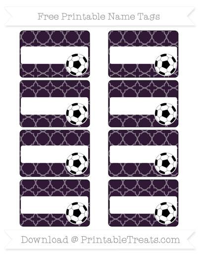 Free Dark Purple Quatrefoil Pattern Soccer Name Tags