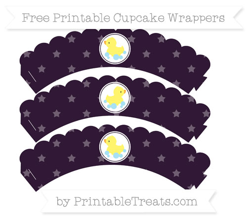Free Dark Purple Star Pattern Baby Duck Scalloped Cupcake Wrappers