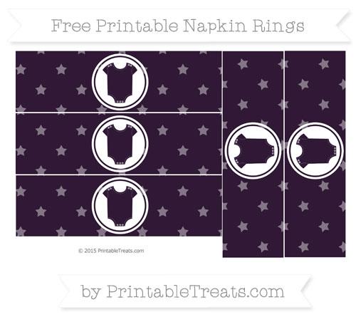 Free Dark Purple Star Pattern Baby Onesie Napkin Rings