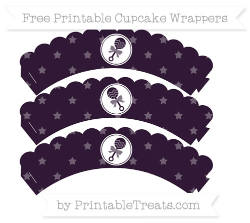 Free Dark Purple Star Pattern Baby Rattle Scalloped Cupcake Wrappers