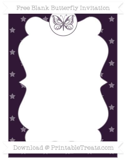 Free Dark Purple Star Pattern Blank Butterfly Invitation