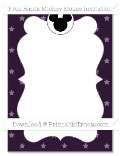 Free Dark Purple Star Pattern Blank Mickey Mouse Invitation