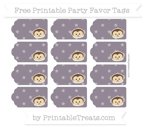 Free Dark Purple Star Pattern Boy Monkey Party Favor Tags