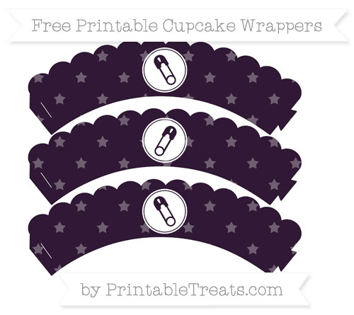 Free Dark Purple Star Pattern Diaper Pin Scalloped Cupcake Wrappers