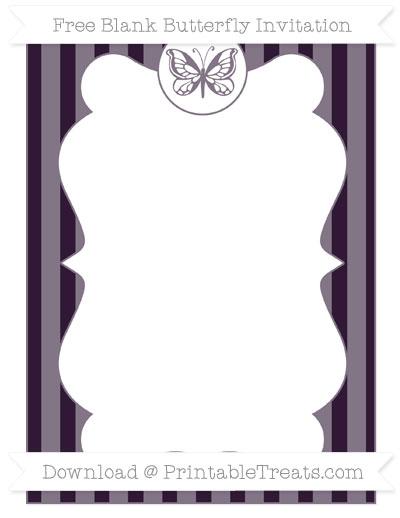Free Dark Purple Striped Blank Butterfly Invitation