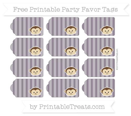 Free Dark Purple Striped Boy Monkey Party Favor Tags