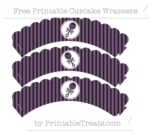Free Dark Purple Thin Striped Pattern Baby Rattle Scalloped Cupcake Wrappers