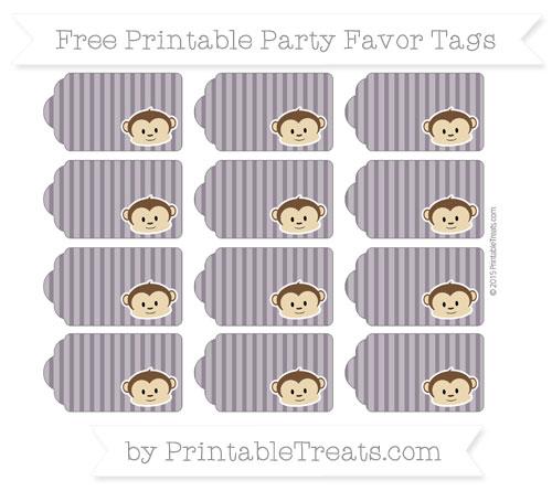 Free Dark Purple Thin Striped Pattern Boy Monkey Party Favor Tags