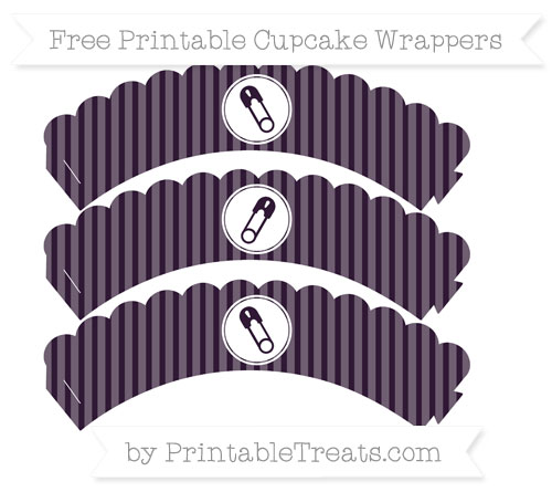 Free Dark Purple Thin Striped Pattern Diaper Pin Scalloped Cupcake Wrappers