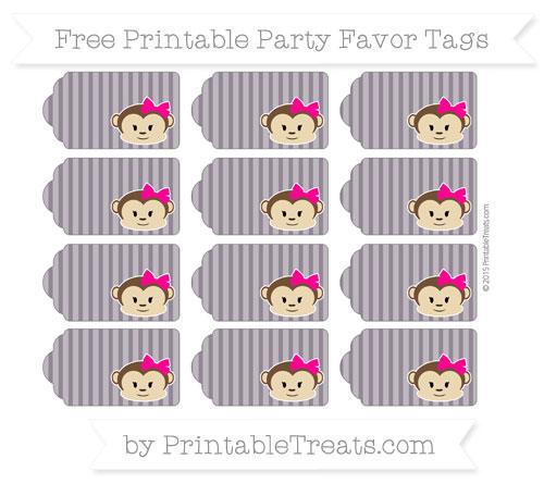 Free Dark Purple Thin Striped Pattern Girl Monkey Party Favor Tags