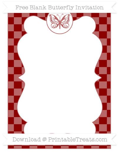 Free Dark Red Checker Pattern Blank Butterfly Invitation