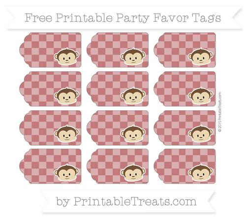 Free Dark Red Checker Pattern Boy Monkey Party Favor Tags