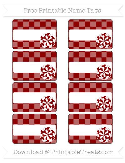 Free Dark Red Checker Pattern Cheer Pom Pom Tags