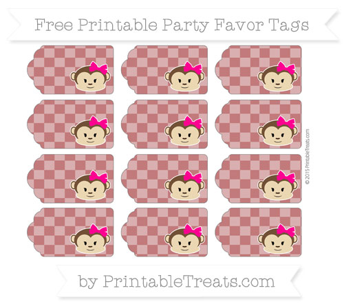 Free Dark Red Checker Pattern Girl Monkey Party Favor Tags