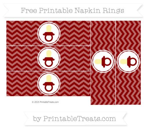 Free Dark Red Chevron Baby Pacifier Napkin Rings