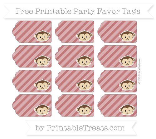 Free Dark Red Diagonal Striped Boy Monkey Party Favor Tags