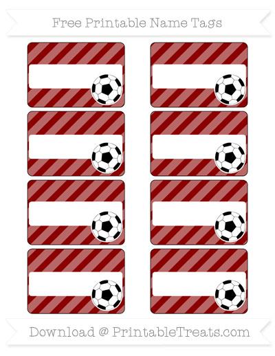 Free Dark Red Diagonal Striped Soccer Name Tags