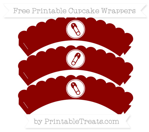 Free Dark Red Diaper Pin Scalloped Cupcake Wrappers