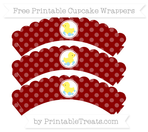 Free Dark Red Dotted Pattern Baby Duck Scalloped Cupcake Wrappers