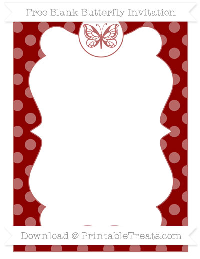 Free Dark Red Dotted Pattern Blank Butterfly Invitation