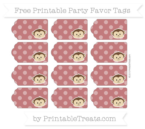 Free Dark Red Dotted Pattern Boy Monkey Party Favor Tags
