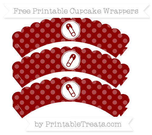 Free Dark Red Dotted Pattern Diaper Pin Scalloped Cupcake Wrappers
