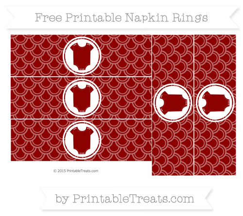 Free Dark Red Fish Scale Pattern Baby Onesie Napkin Rings