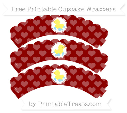Free Dark Red Heart Pattern Baby Duck Scalloped Cupcake Wrappers