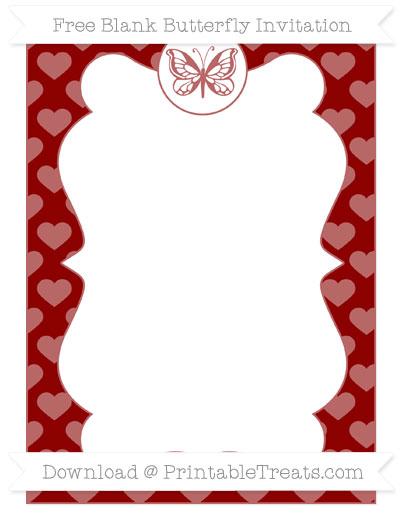 Free Dark Red Heart Pattern Blank Butterfly Invitation