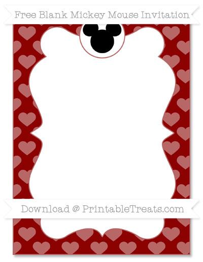 Free Dark Red Heart Pattern Blank Mickey Mouse Invitation