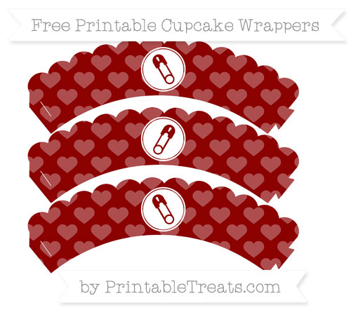 Free Dark Red Heart Pattern Diaper Pin Scalloped Cupcake Wrappers