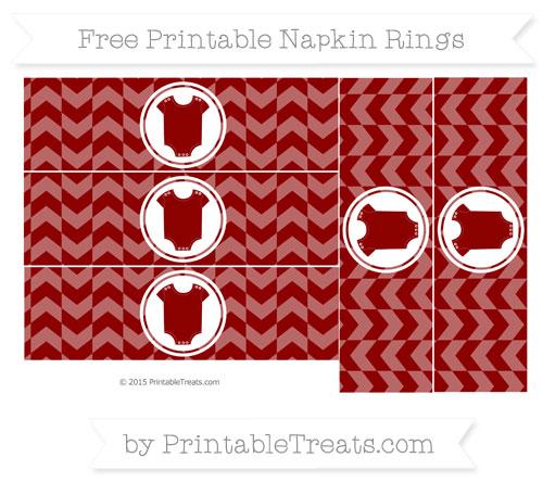 Free Dark Red Herringbone Pattern Baby Onesie Napkin Rings